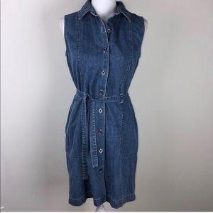 Ann Taylor Loft sz 8 denim midi dress with pockets